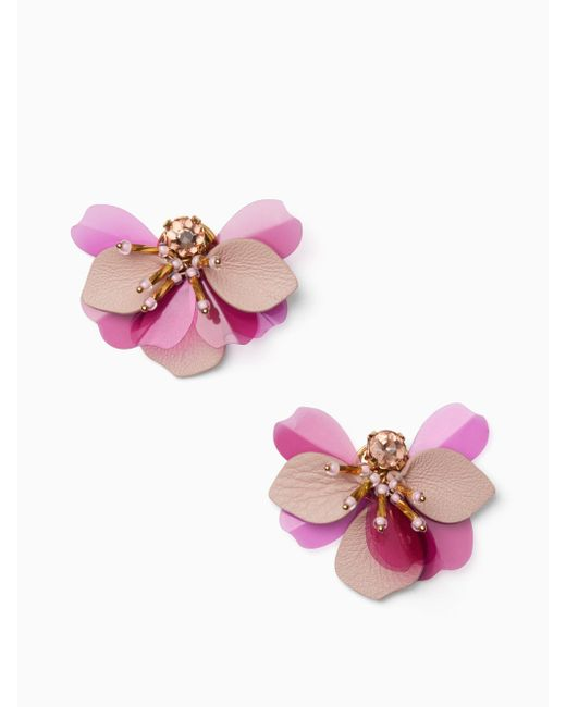 Kate Spade - Pink Vibrant Life Leather Statement Studs - Lyst