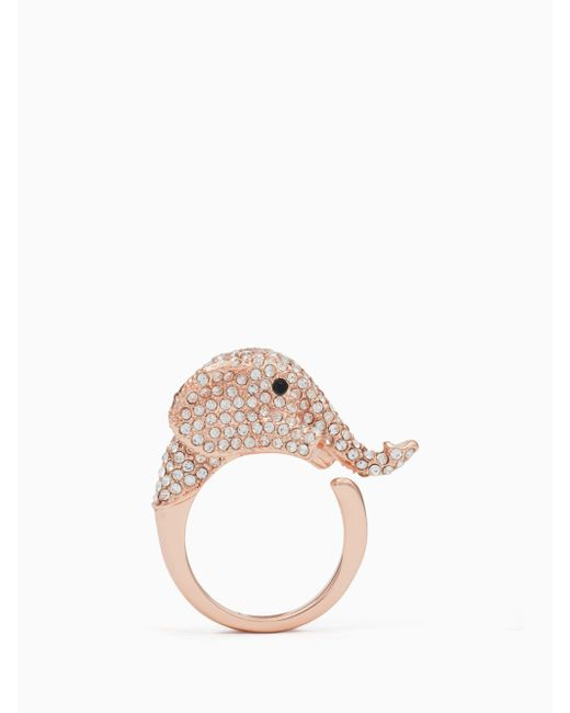 Kate Spade - Pink Things We Love Pave Elephant Ring - Lyst