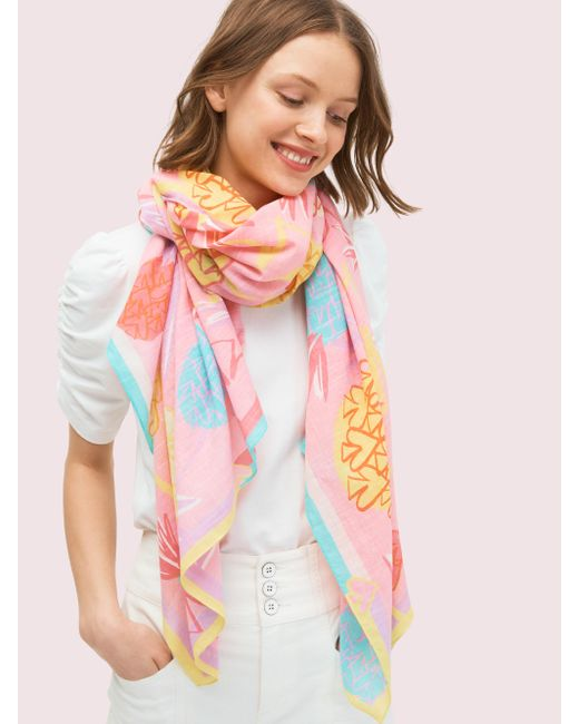 Kate Spade Pink Pineapple Spade Schal, Rechteckig