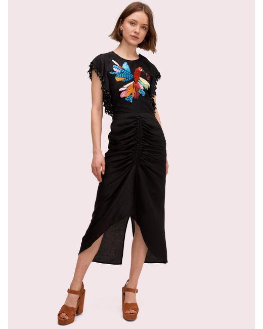 Kate Spade Black Embellished Parrot Dress