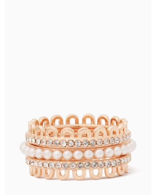 Kate Spade   Multicolor Chantilly Charm Stackable Ring Set   Lyst