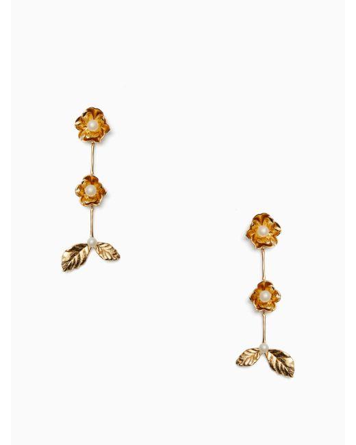 Kate Spade - Metallic Lavish Blooms Linear Earrings - Lyst