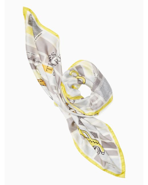 Kate Spade | Gray Taxi Square Scarf | Lyst