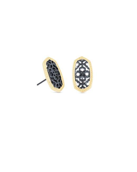 Kendra Scott - Metallic Ellie Gold Stud Earrings In Gunmetal Filigree - Lyst