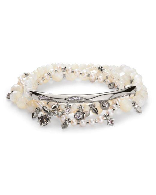 Kendra Scott - Metallic Supak Silver Beaded Bracelet Set Ivory Mother Of Pearl Mix - Lyst