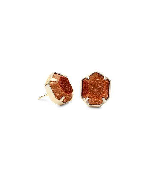 Kendra Scott - Metallic Taylor Gold Stud Earrings In Goldstone - Lyst