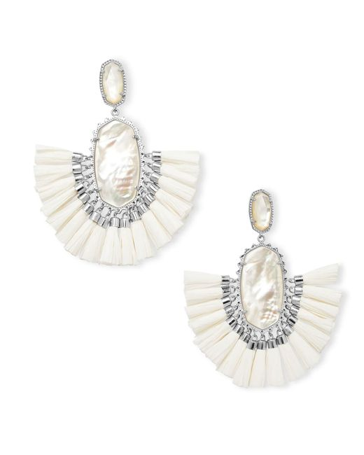 Kendra Scott - Metallic Cristina Silver Statement Earrings In Ivory Mother Of Pearl - Lyst