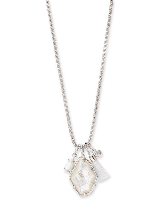 Kendra Scott - Metallic Hailey Silver Long Pendant Necklace In Ivory Mother Of Pearl - Lyst