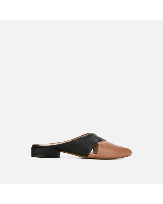 Kenneth Cole Brown Camelia X Backless Leather Loafer Flat - Shoe