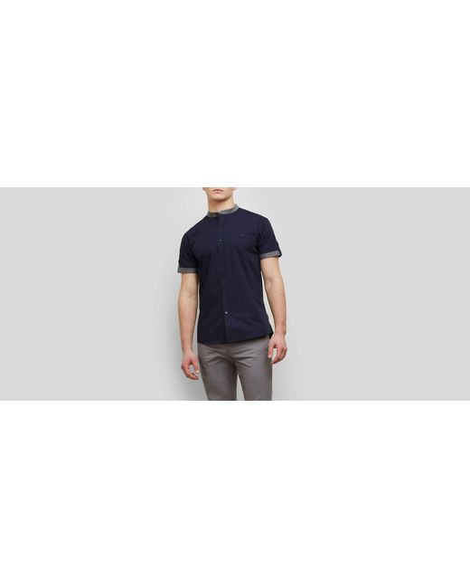 Kenneth Cole Reaction - Blue Short-sleeve Collarband Tab Shirt for Men - Lyst
