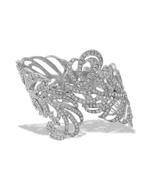 Kenneth Jay Lane | Metallic Crystal Feather Cuff | Lyst