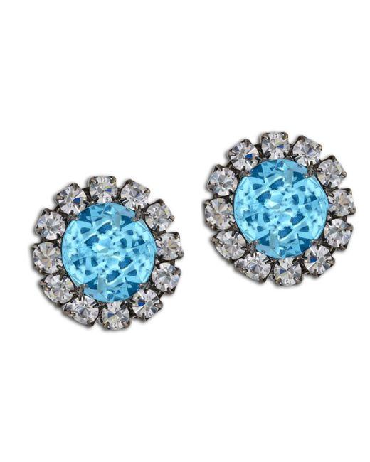 Kenneth Jay Lane | Blue Aqua Button Earring | Lyst