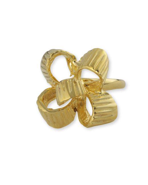 Kenneth Jay Lane   Metallic Polished Gold Bow Ring   Lyst