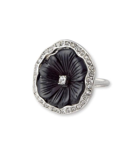 Kenneth Jay Lane | Metallic Black Flower Ring | Lyst