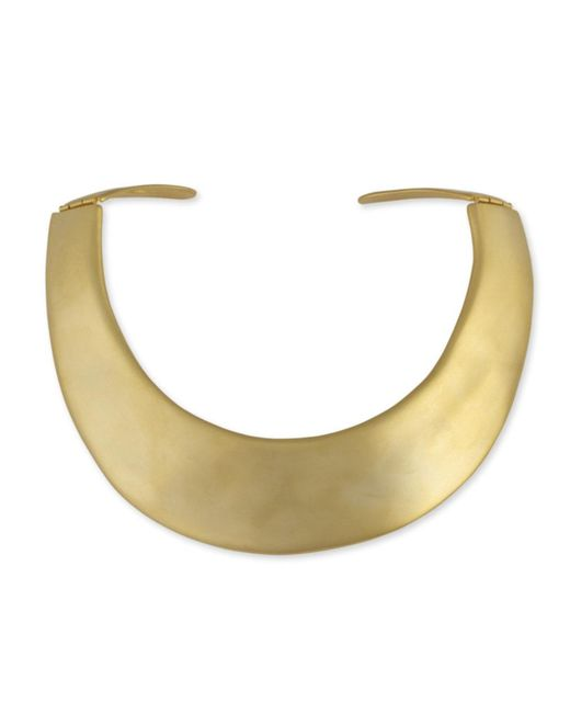 Kenneth Jay Lane | Metallic Satin Gold Collar Hinged Necklace | Lyst
