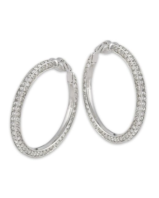 Kenneth Jay Lane | Metallic Crystal Hoop Clip Earring | Lyst
