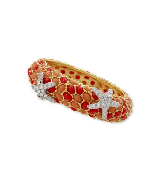 Kenneth Jay Lane | Pink Two Tone Coral And Crystal Starfish Bracelet | Lyst