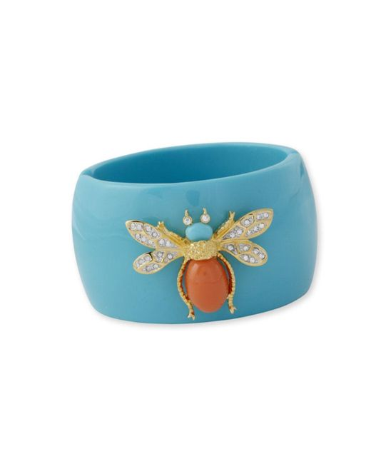 Kenneth Jay Lane | Blue Turquoise And Coral Bug Cuff | Lyst