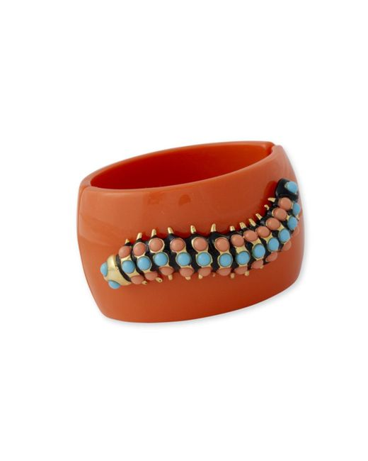 Kenneth Jay Lane | Pink Coral And Turquoise Caterpillar Cuff | Lyst