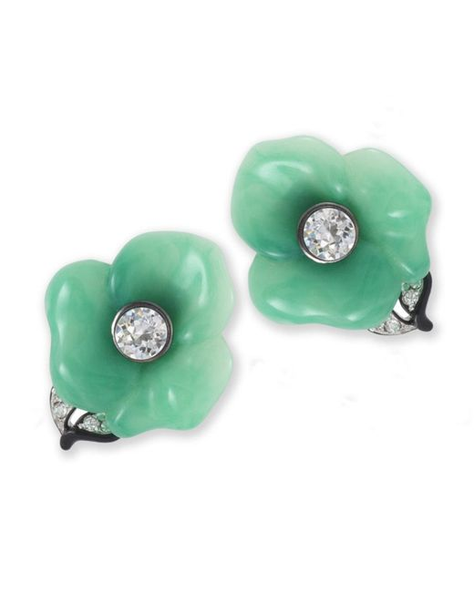 Kenneth Jay Lane | Green Jade Flower Clip Earring | Lyst