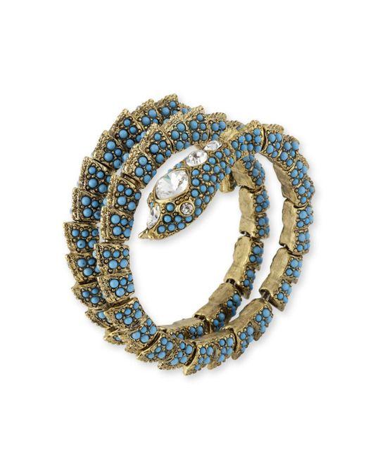 Kenneth Jay Lane | Blue Turquoise Snake Coil Bracelet | Lyst