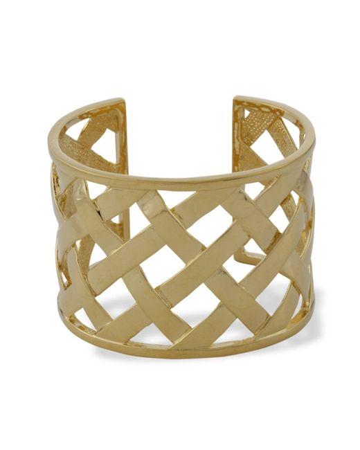 Kenneth Jay Lane | Metallic Polished Gold Basketweave Cuff | Lyst