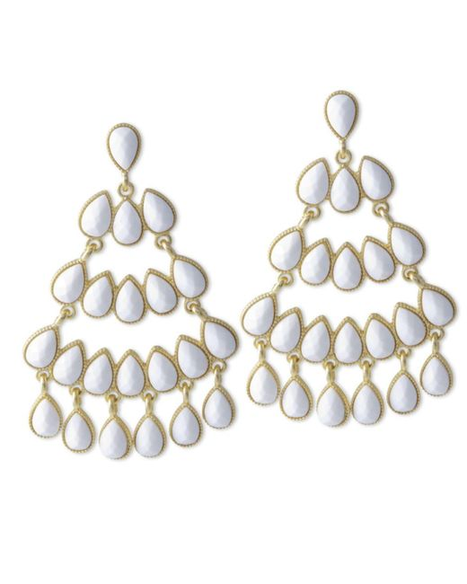 Kenneth Jay Lane | White Chandelier Pierced Earring | Lyst