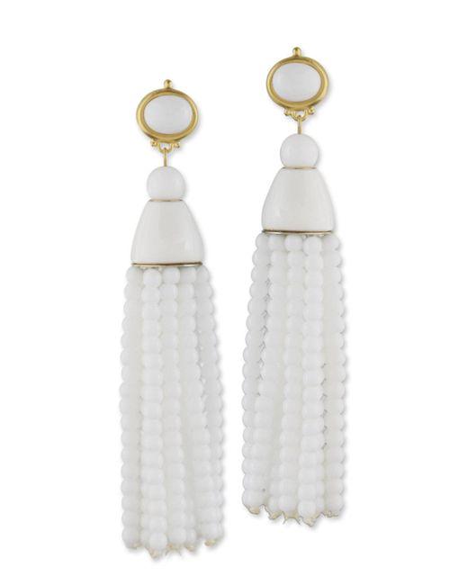 Kenneth Jay Lane | White Tassel Clip Earring | Lyst