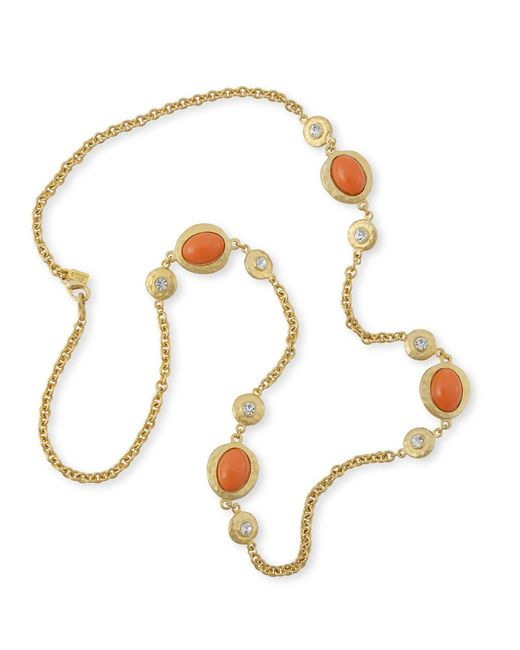 Kenneth Jay Lane | Orange Coral Cabochons Necklace | Lyst