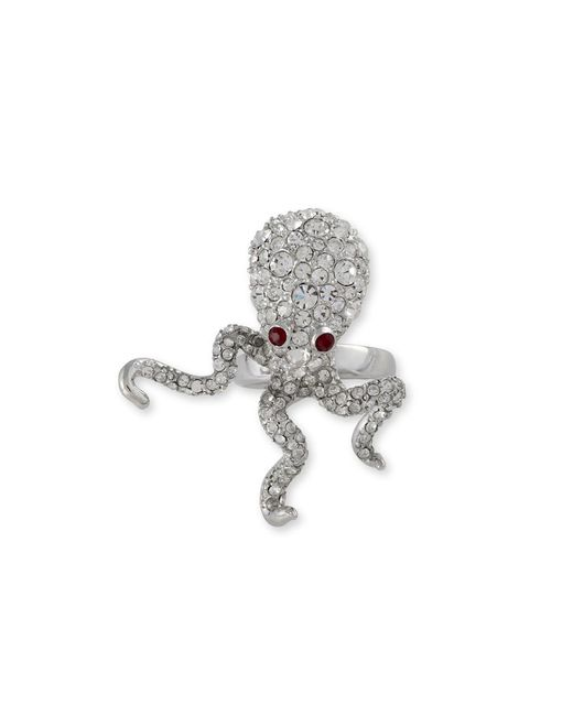 Kenneth Jay Lane | Metallic Crystal Pavé Octopus Ring | Lyst