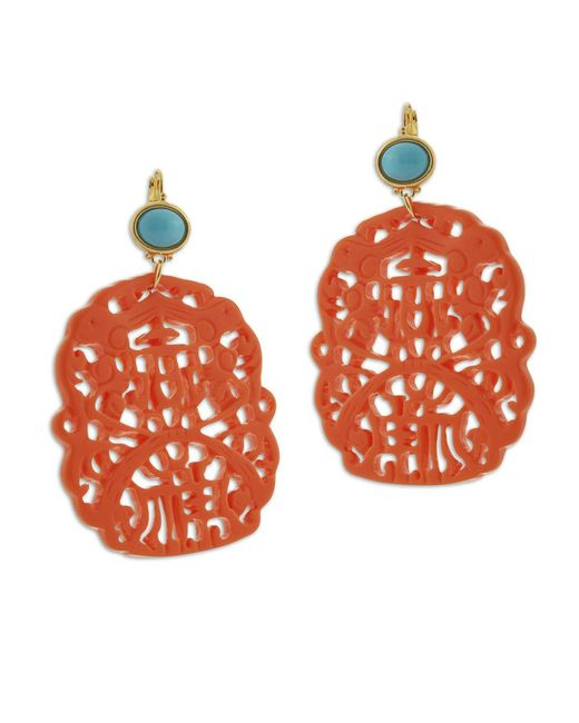 Kenneth Jay Lane | Pink Carved Coral Earring | Lyst