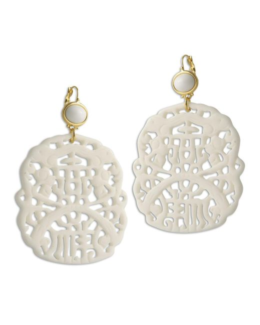 Kenneth Jay Lane | Carved White Earring | Lyst