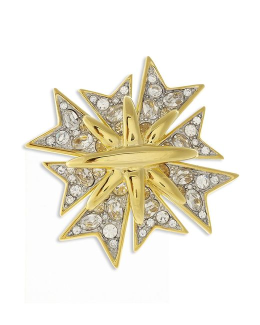 Kenneth Jay Lane   Metallic Crystal Maltese Cross Brooch   Lyst