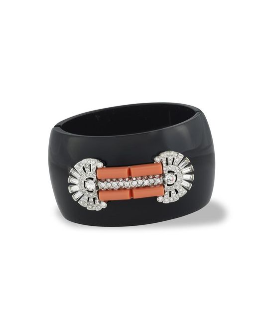 Kenneth Jay Lane | Black Coral Art Deco Cuff | Lyst
