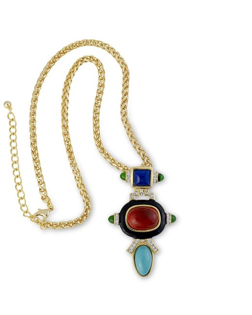 Kenneth Jay Lane | Multicolor Ruby And Turquoise Pendant Necklace | Lyst
