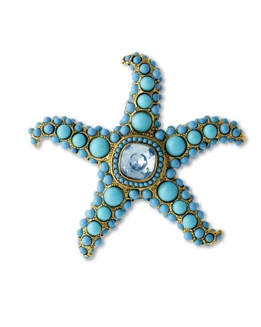 Kenneth Jay Lane | Blue Turquoise And Aquamarine Starfish Brooch | Lyst