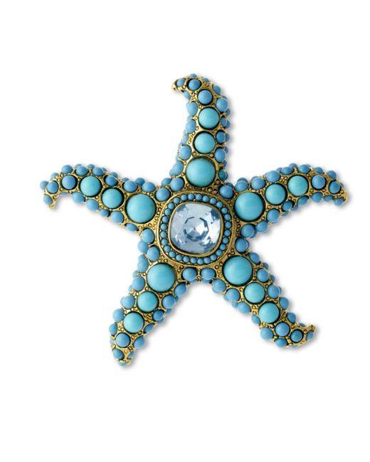 Kenneth Jay Lane   Blue Turquoise And Aquamarine Starfish Brooch   Lyst