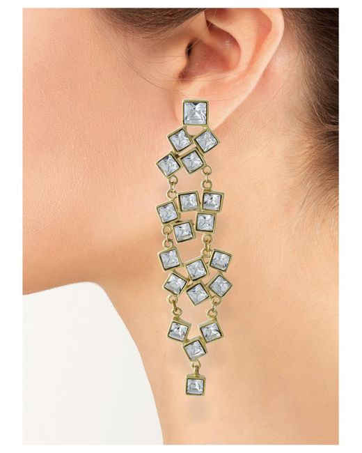 Kenneth Jay Lane | Metallic Crystal Squares Clip Earring | Lyst