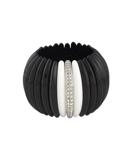 Kenneth Jay Lane | Black And White Stretch Cuff | Lyst