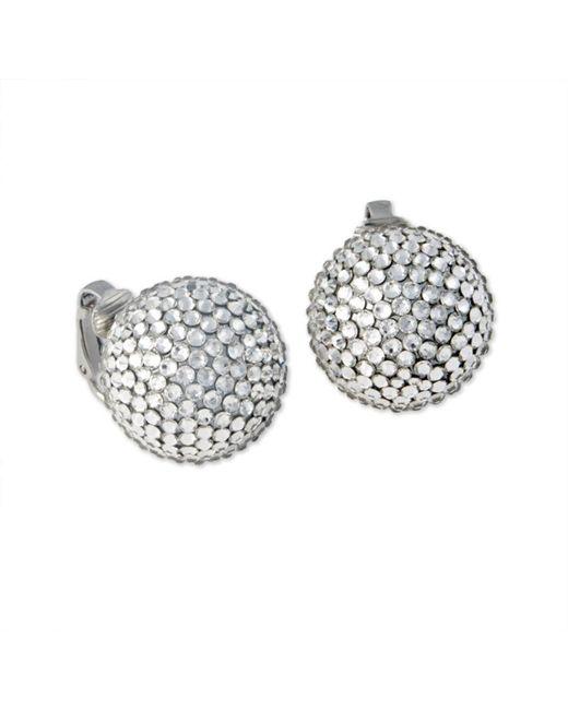 Kenneth Jay Lane | Metallic Crystal Pavé Ball Clip Earring | Lyst