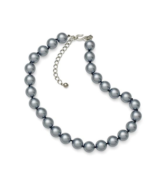 "Kenneth Jay Lane | Gray 16"" Grey Pearl Necklace 