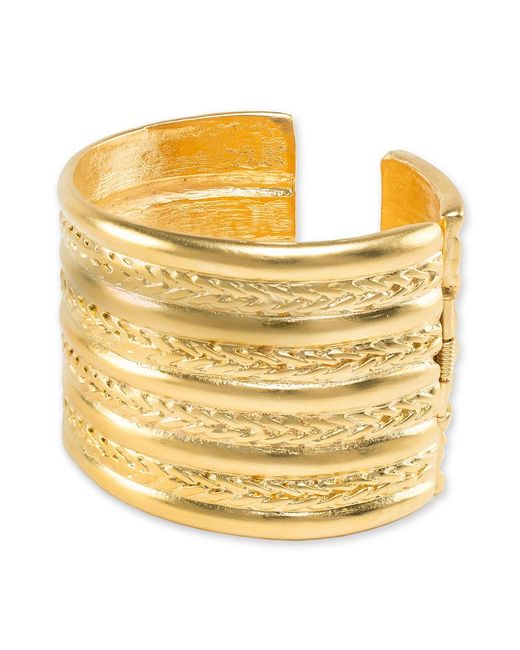 Kenneth Jay Lane | Metallic Braid Design Cuff Bracelet | Lyst