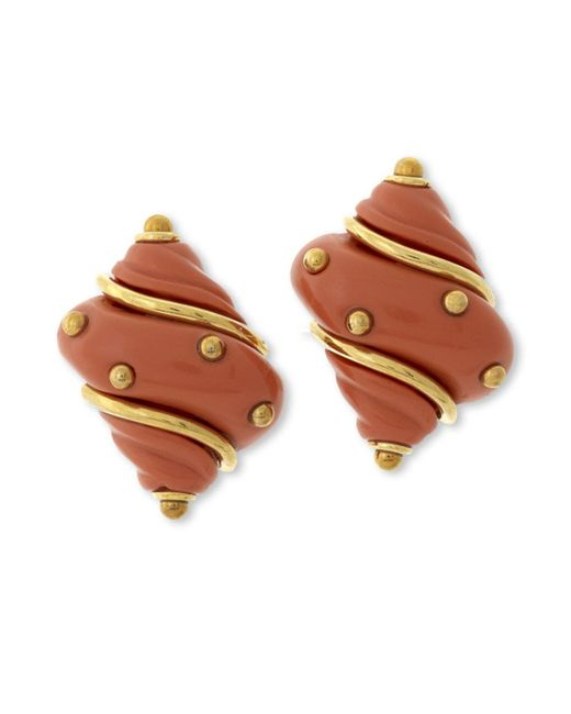 Kenneth Jay Lane | Pink Coral Seashell Clip Earring | Lyst