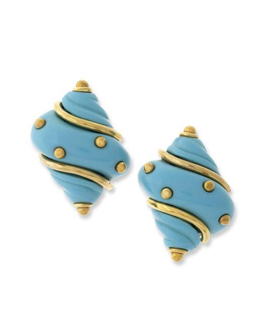 Kenneth Jay Lane | Blue Turquoise Seashell Clip Earring | Lyst