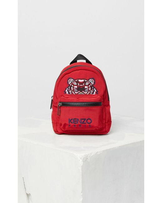 KENZO Red Mini Tiger Canvas Backpack for men