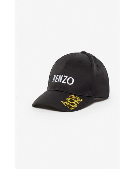 KENZO Black 'dragon' Cap for men