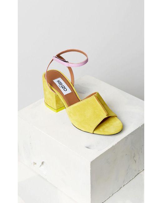 KENZO - Yellow Heeled Sandals - Lyst