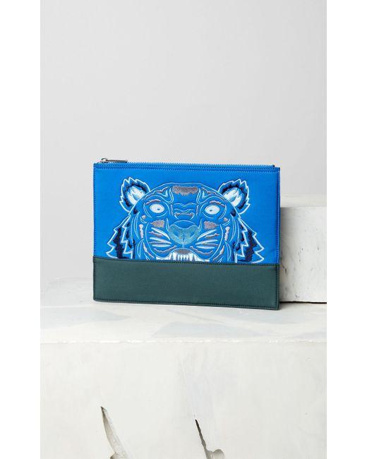 379cc65b Women's Blue Bicolour Tiger Neoprene Clutch
