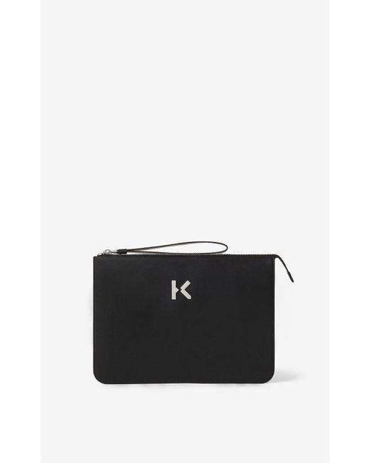 Pochette K en cuir KENZO en coloris Black