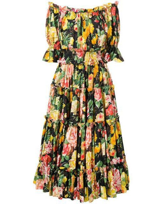 cb7f4b58 Dolce & Gabbana - Multicolor Floral Print Flared Dress - Lyst ...